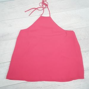 Leith hot pink fully lined halter top Size M